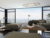 3D Rendering of Interior of Modern Living Room with Large Windows in Highrise Condominium Apartment