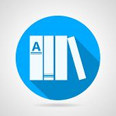 Flat round vector icon for books