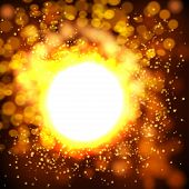Explosion bokeh gold background .