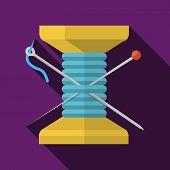 Wooden reel thread flat vector icon