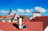 View Over The Rooftops And Church Spiers Of The Old Town Tallinn