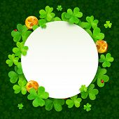Green clovers and golden coins Saint Patricks Day frame
