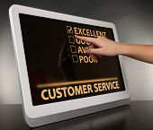 Hand touching tablet pc screen, Customer Service concept