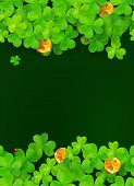 Dark green background with clovers and golden coins