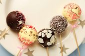 image of cake pop  - Tasty cake pops on plate - JPG
