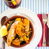 picture of sangria  - Seafood dish and sangria Spanish traditional cuisine. ** Note: Soft Focus at 100%, best at smaller sizes - JPG