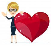 Cartoon beautiful young blond woman with a huge heart joyfully welcomes you