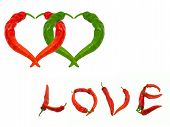 Two Hearts And Word Love Composed Of Red And Green Chili Peppers