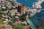 The Red Tower in Alanya, Turkey, general view from above with the  Mediterranean sea
