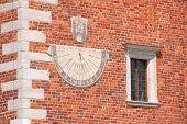 stock photo of sundial  - Sundial at the city hall in Sandomierz  - JPG