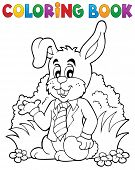 Coloring book Easter rabbit theme 1 - eps10 vector illustration.