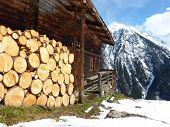 Firewood at the ski hut in alpine winter landscape