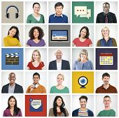 Faces Technology People Diversity Multiethnic Group Concept