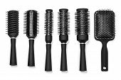 image of bobbies  - Professional hairdresser tools isolated on white background - JPG