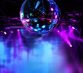 image of mirror  - Colorful disco mirror ball lights night club background - JPG