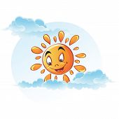 Cartoon image of sun in the clouds.