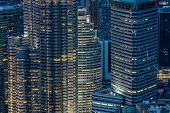 stock photo of klcc  - Kuala Lumpur City office buildings  at night Asia