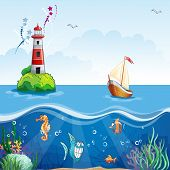 Children's illustration with lighthouse and sailboat. On the sea floor and funny fish