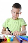 Child Draws Is Family On White Paper