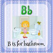 Illustration of a letter b is for bathroom