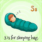 image of sleeping bag  - Illustration of a letter s is for sleeping bag - JPG