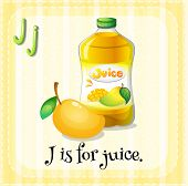Illustration of a letter j is for juice