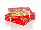 3D pizza boxes isolated on white background