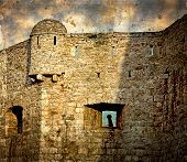 Old Photos With Fortress Of The Old Town Of Budva, Montenegro