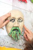 Plasticine Face With Moustache Sculpting