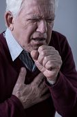 image of cough  - Elder man having pain in chest and coughing - JPG