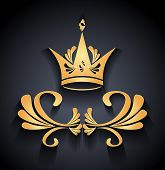Gold Crown with decoration elements and shadow on black