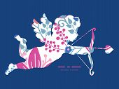 Vector pink flowers shooting cupid silhouette frame pattern invitation greeting card template