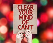 Clear Your Mind of Can't card with colorful background with defocused lights