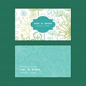 Vector mysterious green garden horizontal frame pattern business cards set