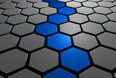 stock photo of hexagon pattern  - 3d hexagons with blue pathway through the middle - JPG