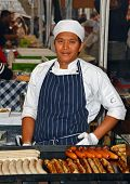 Sausage Chef At Saturday Morning Market In The Rocks Sydney