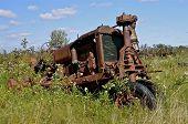 Steering column of old tractor