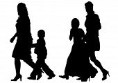 Silhouette of a mother and children on white background
