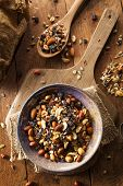 image of mixed nut  - Raw Organic Homemade Trail Mix with Nuts and Fruits - JPG