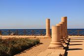 stock photo of promontory  - Column ruins of Herods promontory palace in Caesarea Maritima National Park - JPG