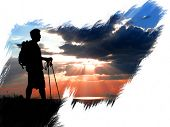 Silhouette of Hiker at the hike beginning with a sunset painted on canvas