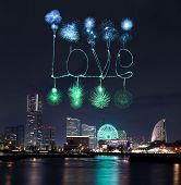 Love Sparkle Fireworks Celebrating Over Marina Bay In Yokohama City