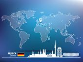 Map pin with Munich skyline - vector illustration