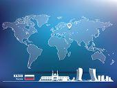 Map pin with Kazan skyline - vector illustration