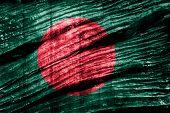 Bangladesh Flag on wood background
