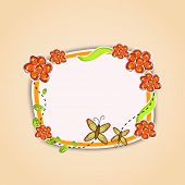 Beautiful frame decorated with butterfly and flowers with space for your message.