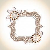 Square shaped frame with shiny floral decoration and space for your message on shiny background.
