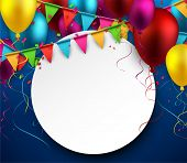 Celebrate background. Party flags with confetti. Realistic balloons. Vector illustration.