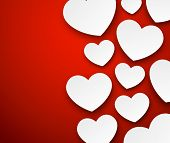 Vector abstract background composed of white paper hearts on red. Eps10.