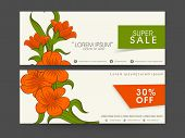 Sale header with vine of flower, company's name, contacts and discount percentage on label.